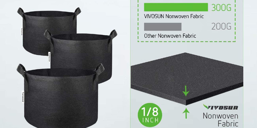 Details of the material grow bags are made from.