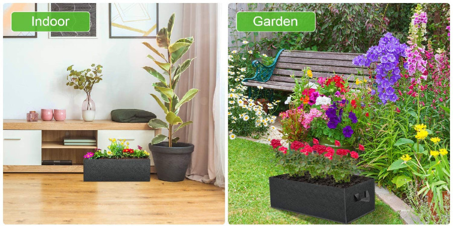 Grow bags in both an indoor (left) and outdoor (right) setting.