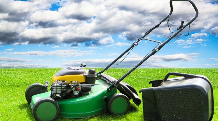 A green walk-behind lawn mower with a collection bag detached and sitting next to it in the grass.