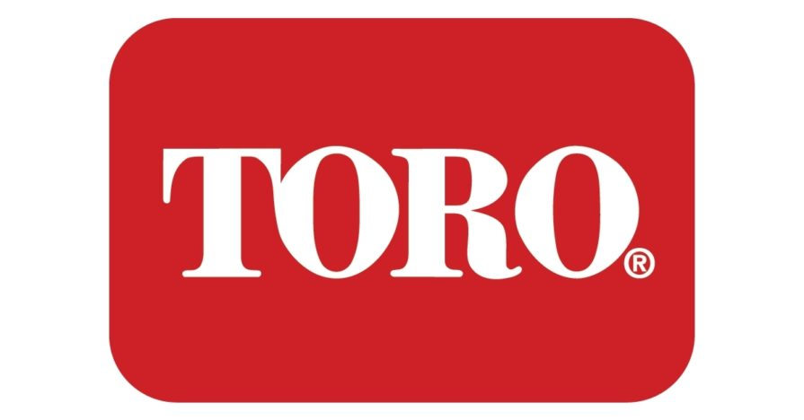 """The official Toro Company logo: a red rectangle with rounded corners, on its side, with white letters, """"TORO."""""""