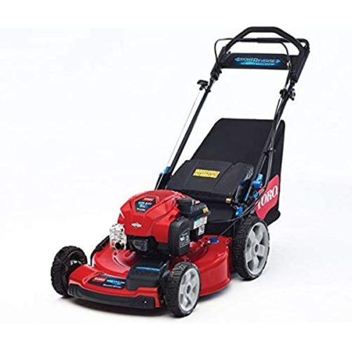 A shiny red Toro walk-behind self-propelled gasoline-powered lawn mower on a white background.