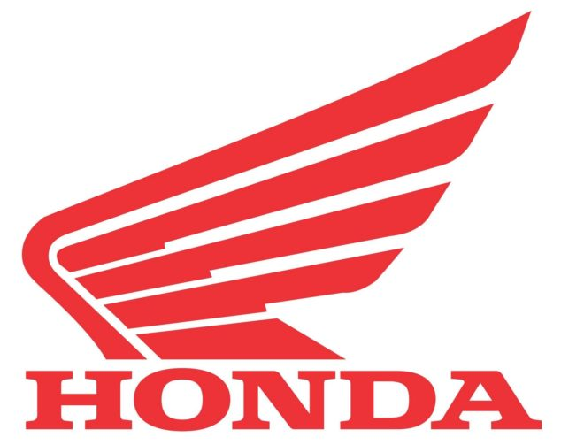 """The official Honda icon: """"Honda"""" in red letters under a red wing design with white background."""