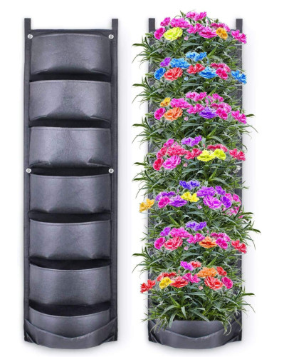 breathable fabric hanging planter empty side-by-side with planter with flowers