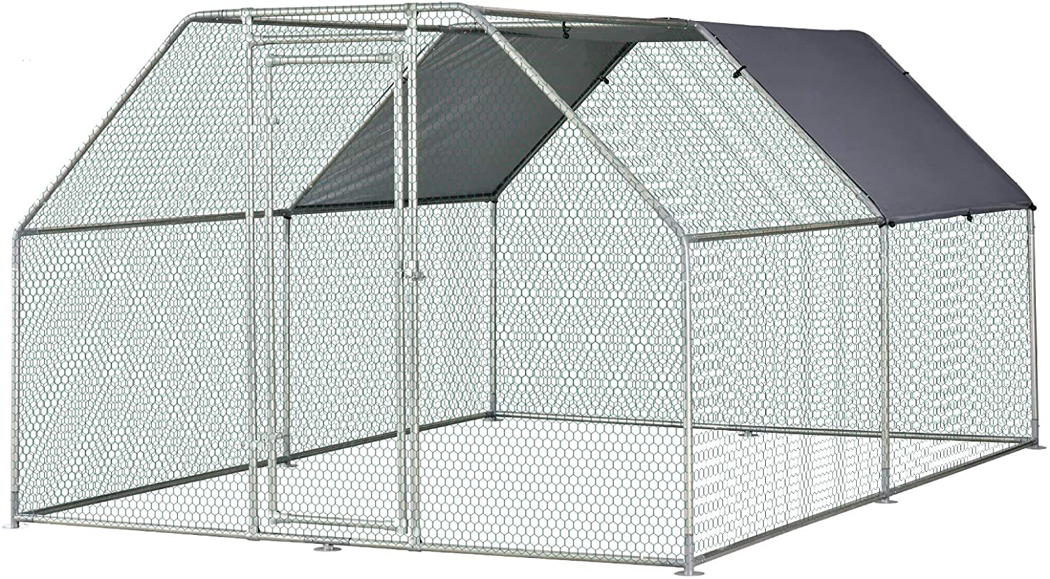 PawHut Galvanized Metal Chicken Coop Cage with Cover - The Best Walk-In Chicken Coops for Your Flock