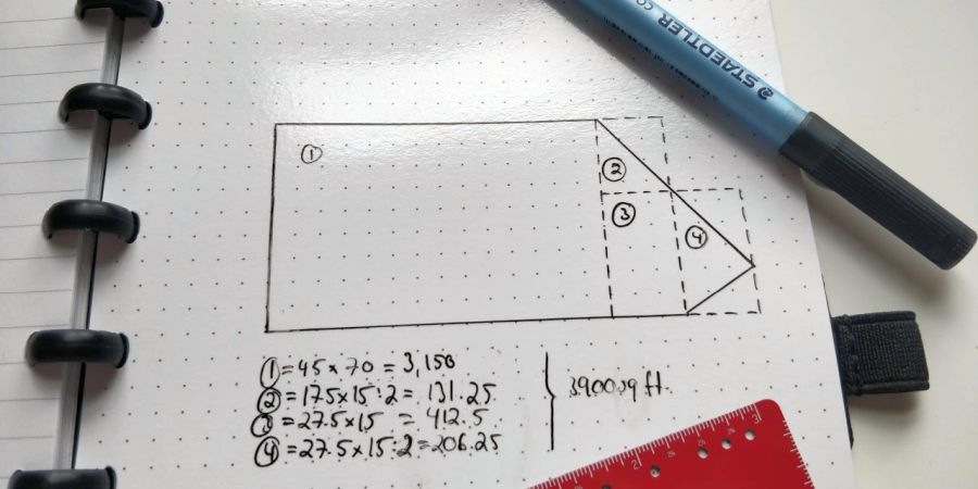 Sketch of an irregularly shaped property and how to calculate its square footage.