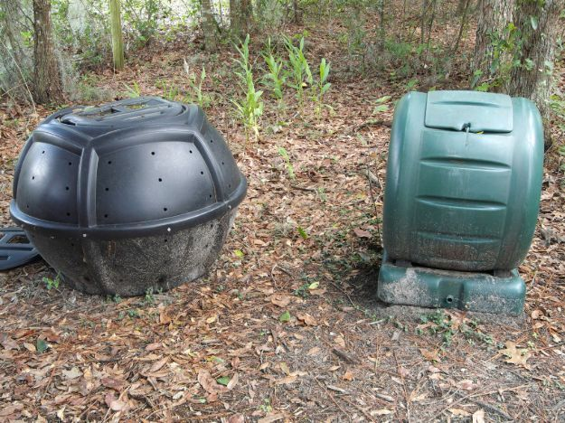 Two Plastic Hand Rolled Compost Tumblers