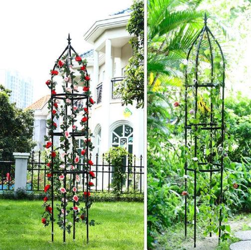 side-by-side images of metal trellis in obelisk shape with plants