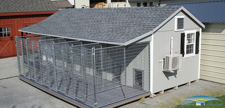 Horizon Structures Commercial Kennels standing on someone's property.