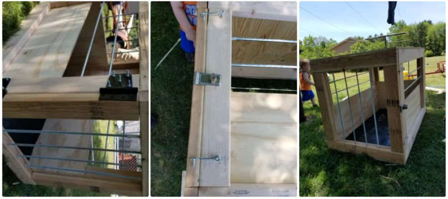 Three photos of the Houdini Dog Kennel, from under constructions to finished product sitting on a lawn.