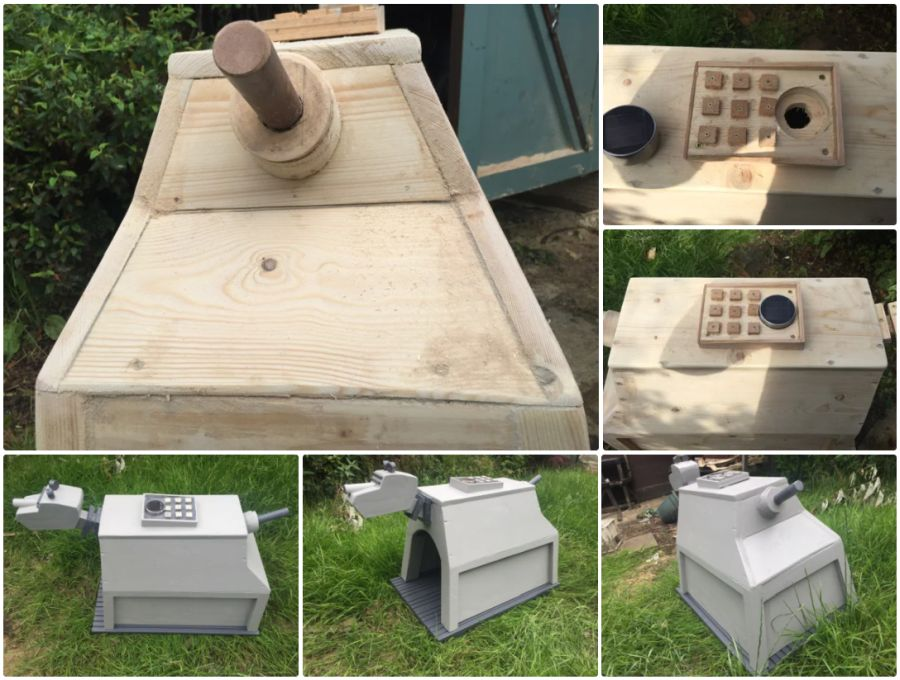 Six photos of the K9 Dog Kennel, from various angles and three photos of before it was stained.