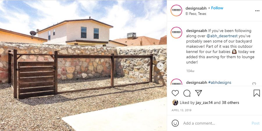 Instagram post of the finished Outdoor Wire Mesh And Wood Dog Run, built on someone's property.