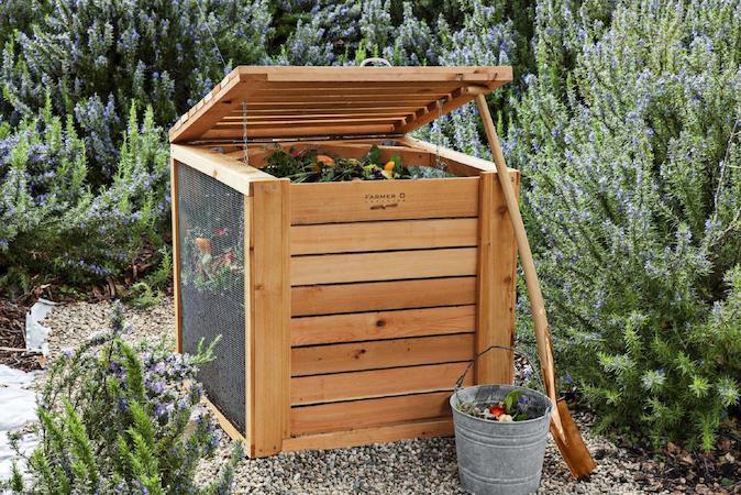 Wooden outdoors compost bin
