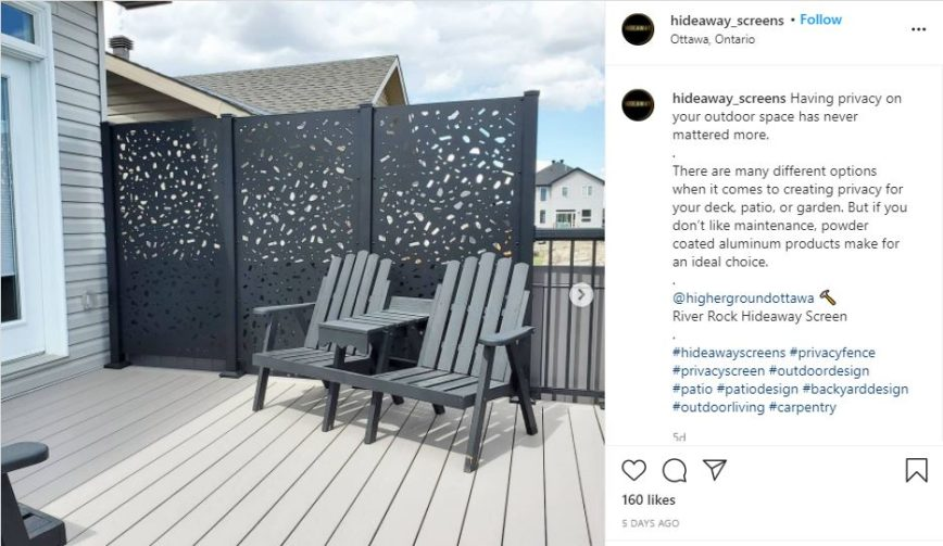 decorative powder coated aluminum privacy panels on deck