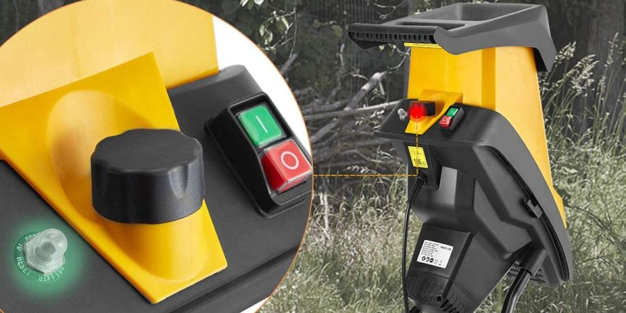 Close-up of the safety feature on an electric woo chipper.