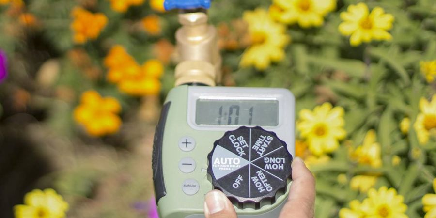 Setting the watering time on an Orbit hose watering timer.