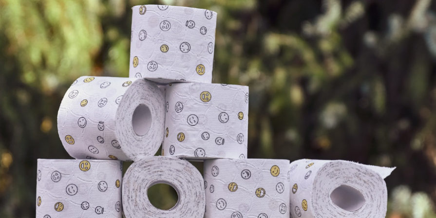 stacked toilet paper rolls