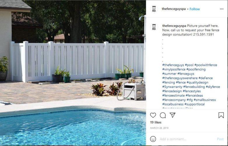 vinyl pool fence surrounding pool and yard