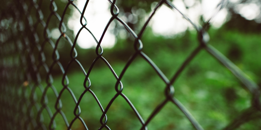 close up on chain link fence