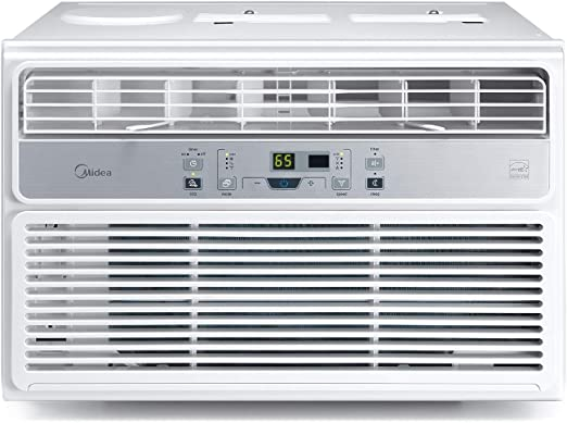 The front cover of a window-mounting air conditioning unit.