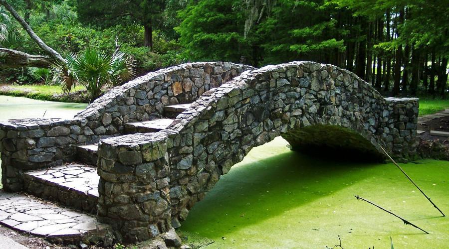 stone bridge over algae covered pond