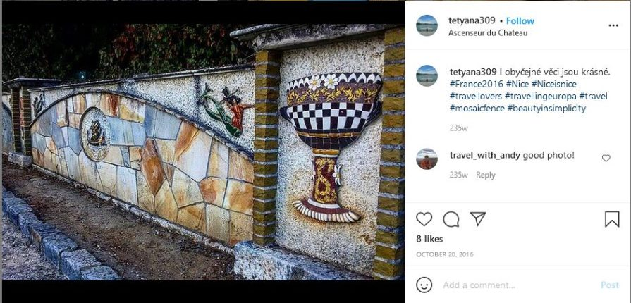 mosaic fence with unique designs