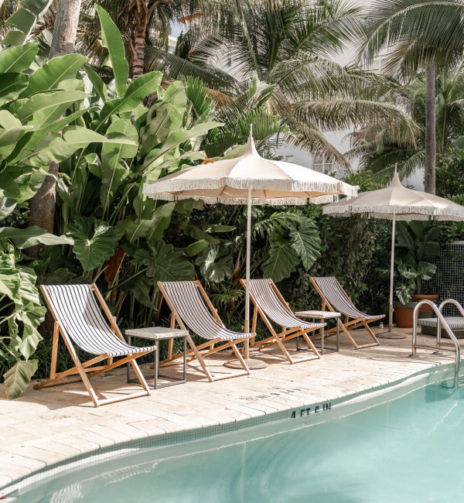 pool with deck chairs and umbrellas along a wall of banana trees