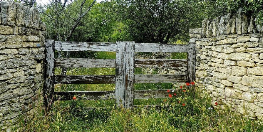 vintage wood gate between stone fence walls