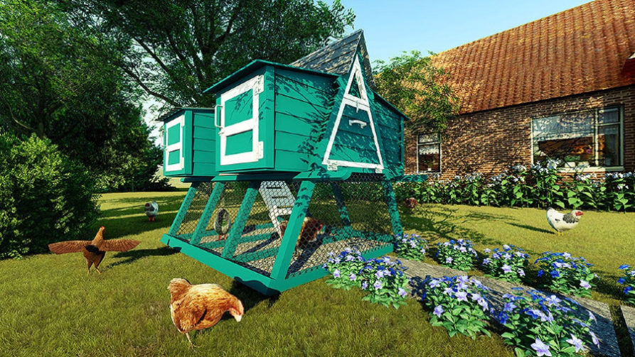Elevated green chicken coop with flowers, walking path, and chickens nearby