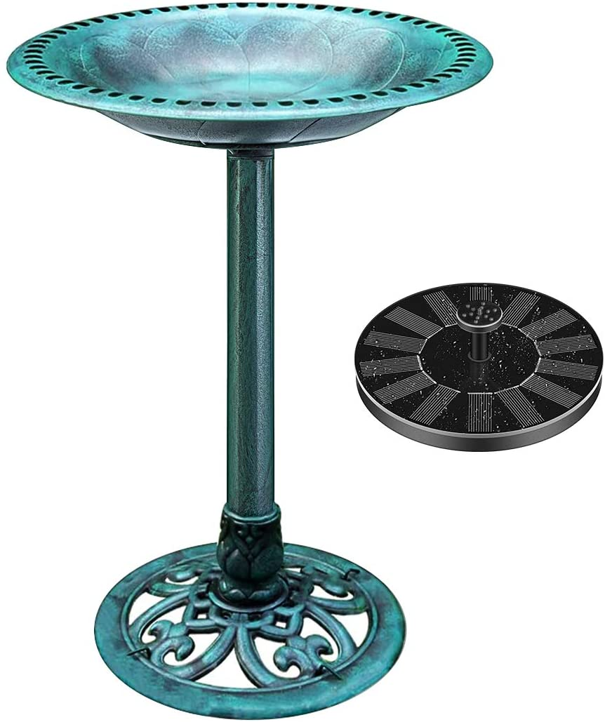 VIVOHOME Polyresin Antique Outdoor Solar Fountain