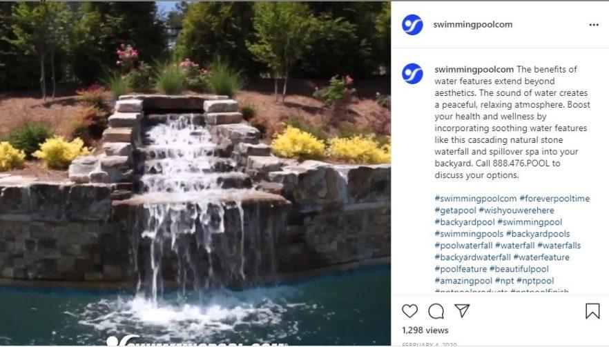waterfall from brick cascade into pool below