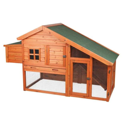 chicken coop with easy acces openings and modest run