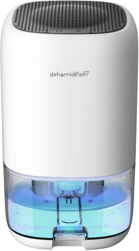 Small portable dehumidifier with water collection tank.