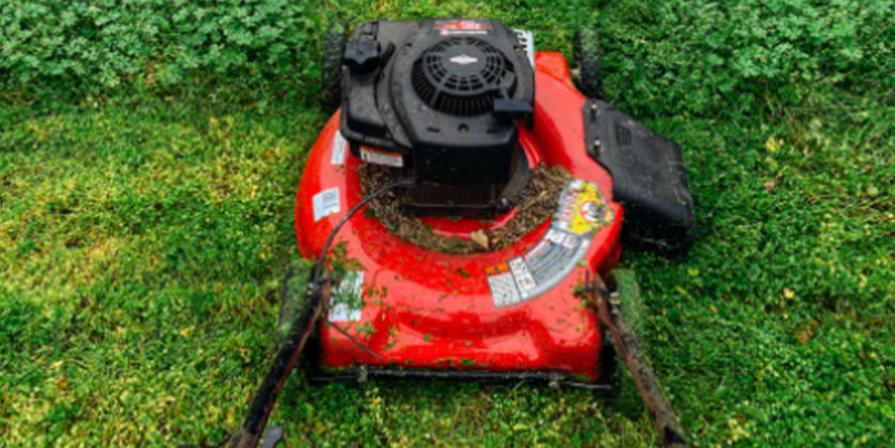 Gas Powered Lawn Mower Cutting Grass