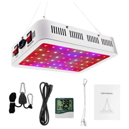 white grow light with colorful LED bulbs and monitors and controls