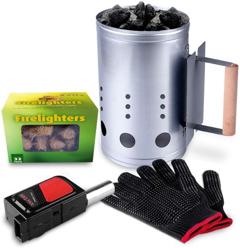 HOMENOTE Rapid Charcoal Chimney Starter Set