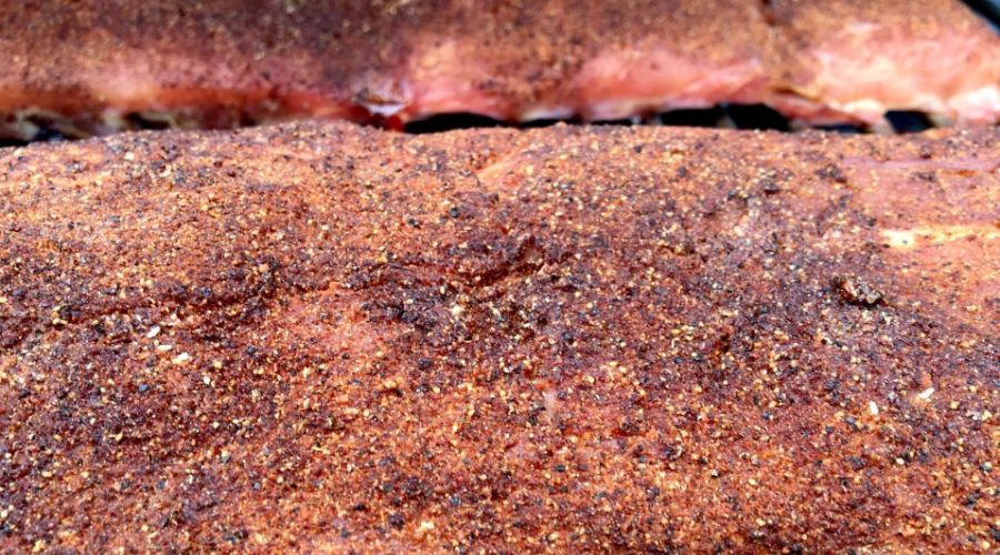 Barbecue pork ribs covered in Memphis BBQ dry rub.