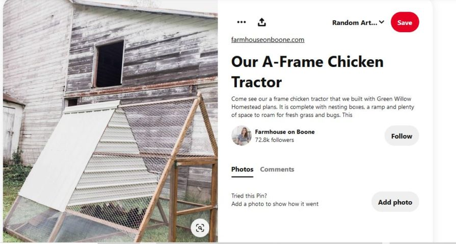 A-frame chicken coop against old barn