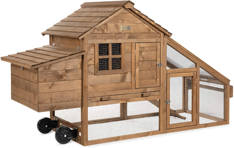 wooden chicken coop with run, on wheels