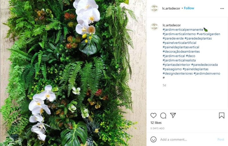 Orchids and greenery growing on a wall