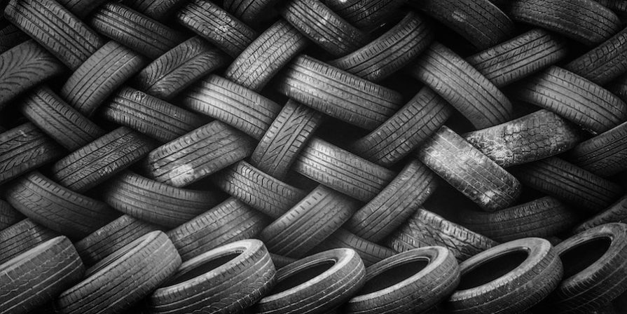 Old Tires In A Criss Cross Pattern