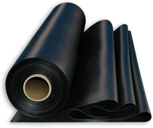 Roll of rubber roofing material.