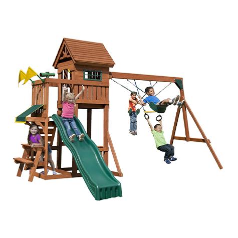 Playful Palace Swing Set with Slide