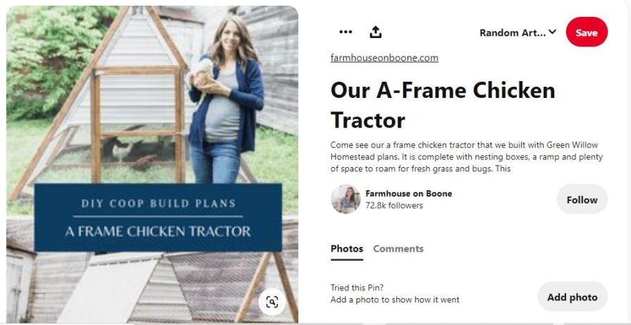 screenshot of woman holding a chicken in front of A-frame chicken coop tractor