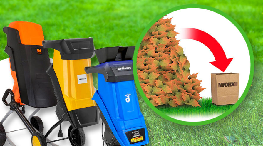The best electric woodchippers on a grassy background.