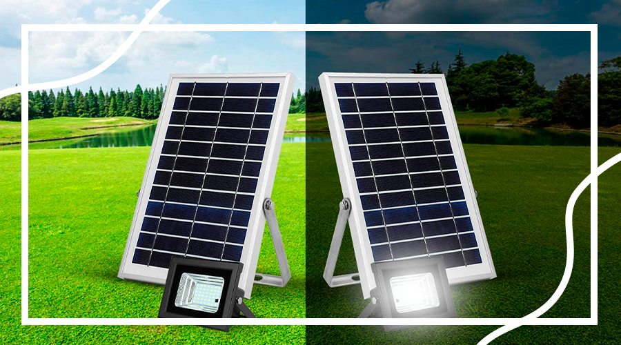 Solar flood light charging during the day and illuminating the garden during the night.