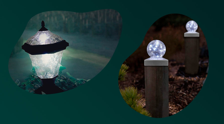 Two different models of solar post cap lights.