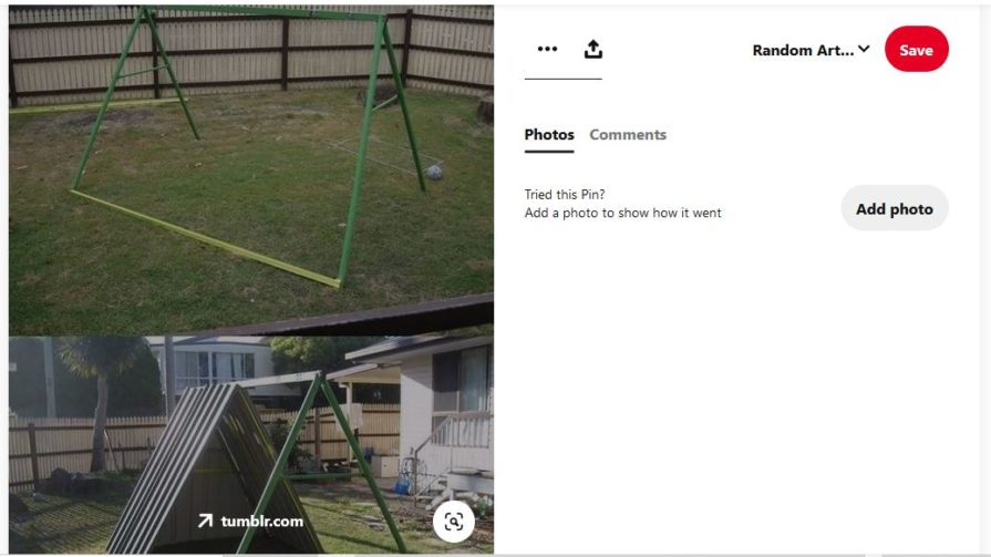 screenshot of swing set on top, converted into a chicken coop on bottom
