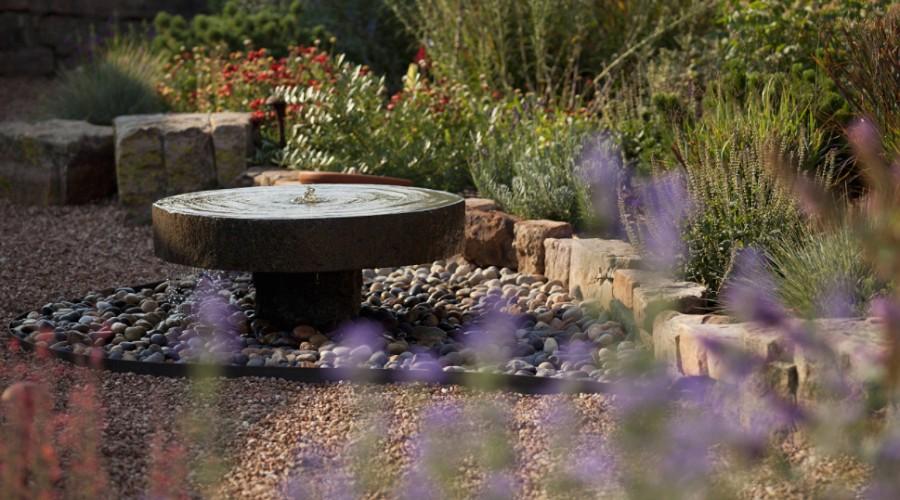 concrete paver water fountain landscape