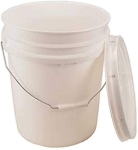 White plastic bucket.