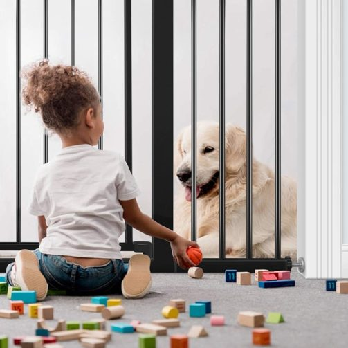 A child sits on one side of a baby gate playing with blocks and a dog sits on the other.